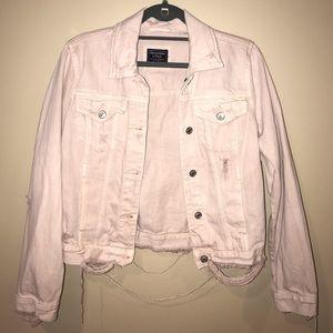 A&F Distressed Light Pink Jean Jacket